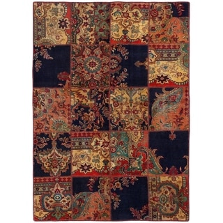ECARPETGALLERY  Hand-knotted Vintage Anatolia Patch Dark Navy, Red Wool Rug - 4'11 x 6'11