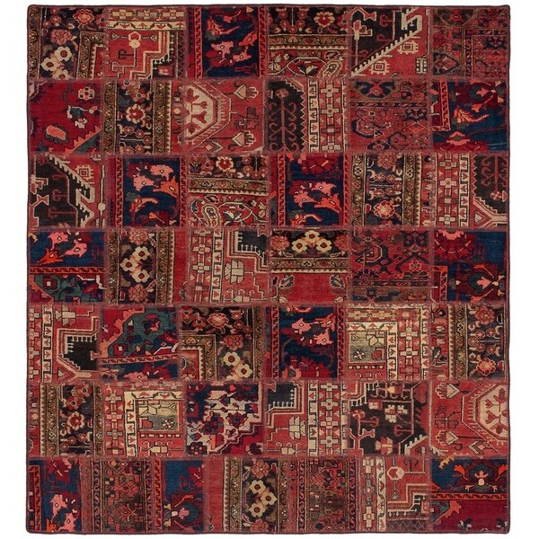ECARPETGALLERY Hand-knotted Vintage Anatolia Patch Red Wool Rug - 5'10 x 6'4