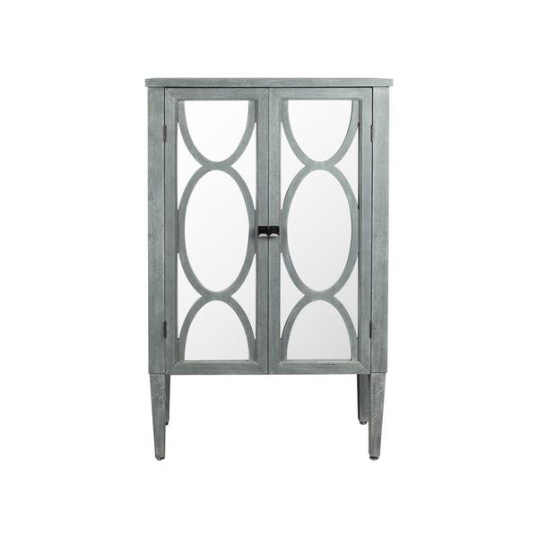 Antique Grey 2-door Wooden Inlay Cabinet