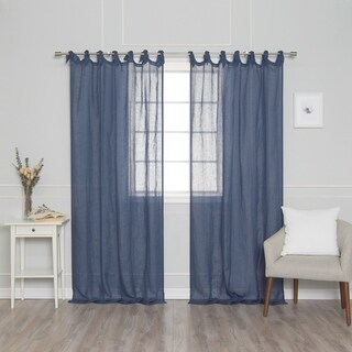 Aurora Home French Linen Romantic Tie Top Single Curtain Panel