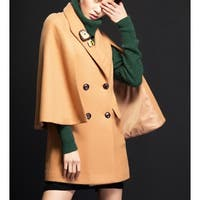 Women's Camel Double Breasted Wool Blend Cape Coat