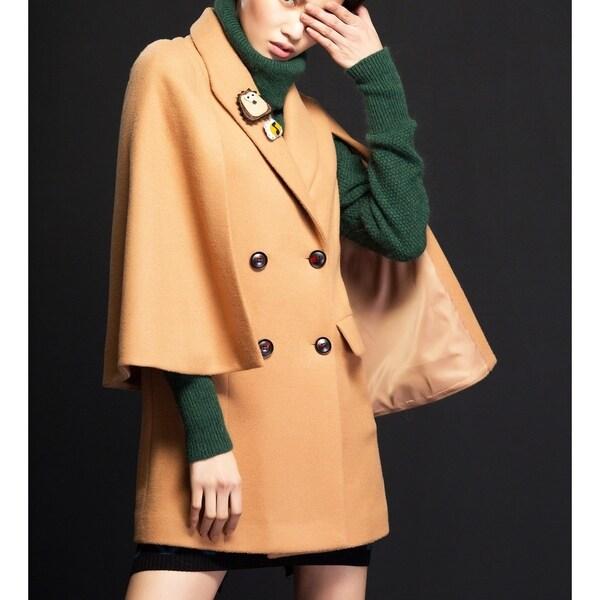 Women's Camel Double Breasted Wool Blend Cape Coat