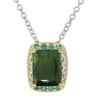 Michael Valitutti Palladium Silver Green Tourmaline Emerald Pendant