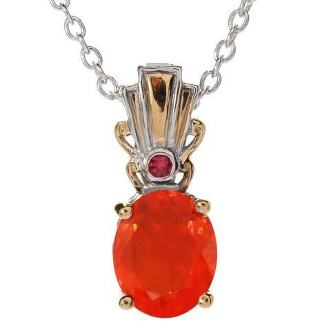 Gems en Vogue Palladium Silver Fire Opal & Dark Orange Sapphire Pendant