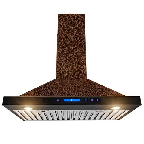 30 in Wall Mount Range Hood Embossed Copper 4 Speed Touch Control Fan for Kitchen