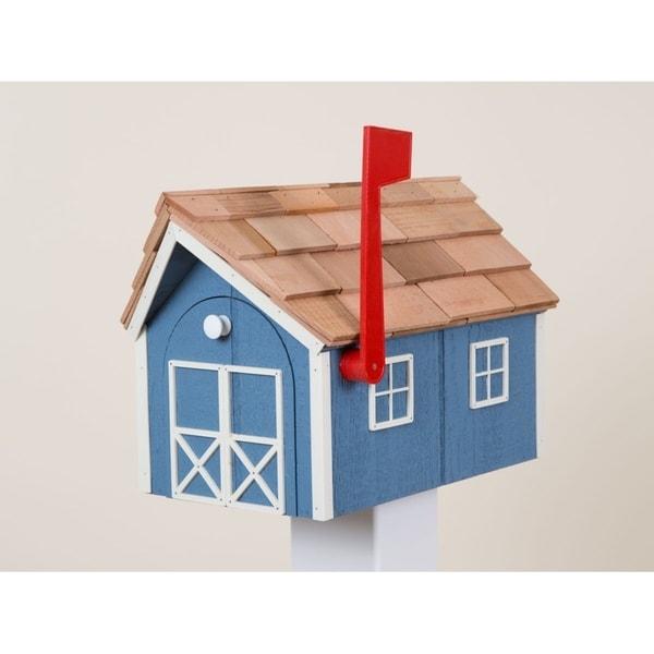 Blue & White Wooden Mailbox