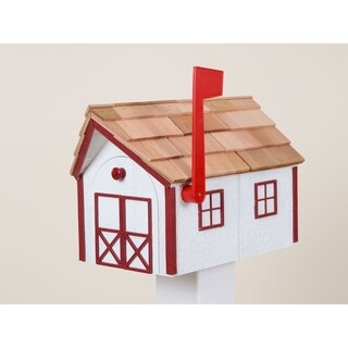 White & Red Wooden Mailbox