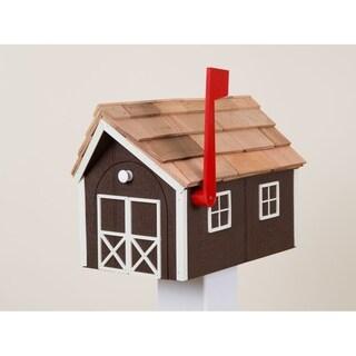 Brown & White Wooden Mailbox