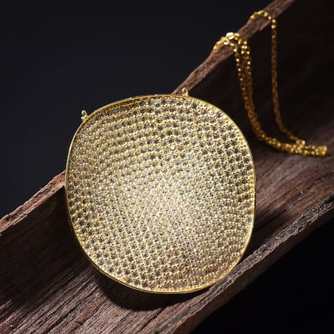 Gold over Sterling Silver Medallion with Pave Microzirconia Pendant