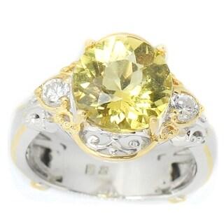 Michael Valitutti Palladium Silver Round Yellow Beryl & White Zircon Fleur-de-lis Ring