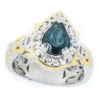 Michael Valitutti Palladium Silver Pear Indicolite Tourmaline & White Zircon Ring