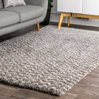 Porch & Den Mitchell Brown Plush Chevron Shag Area Rug - 7'10 square