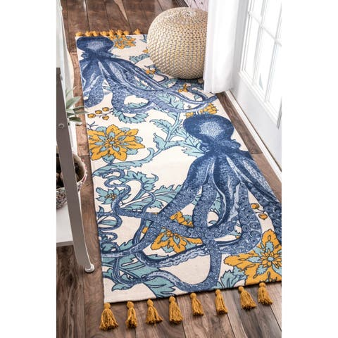 "Porch & Den Swain Handmade Cotton Printed Octopus Runner Rug - 2' 8"" x 12'"