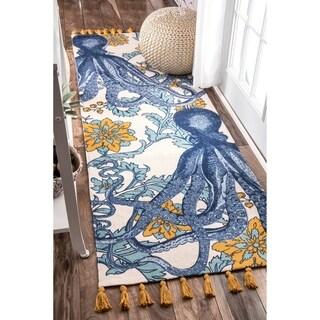"Porch & Den Swain Handmade Cotton Printed Octopus Runner Rug - 2' 8"" x 12' Runner"