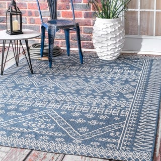 The Curated Nomad Brewster Blue Indoor/Outdoor Tribal Floral Diamonds Area Rug - 10' x 14'