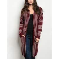 JED Women's Striped Knit Long Cardigan