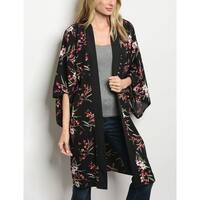 JED Women's Black Floral Kimono Cardigan Top