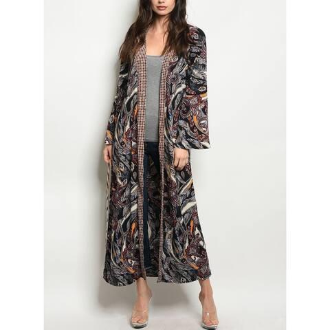 JED Women's Paisley Print Maxi Kimono