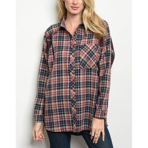 JED Women's Relax Fit Button Down Plaid Tunic Shirt