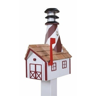 Wooden Light House Mailbox w/ Solar Powered Light - White and red