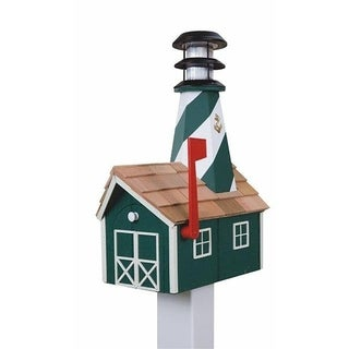 Wooden Light House Mailbox w/ Solar Powered Light - Green And White