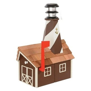 Wooden Light House Mailbox w/ Solar Powered Light - Brown and white
