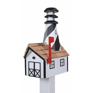 Wooden Light House Mailbox w/ Solar Powered Light - White and Black
