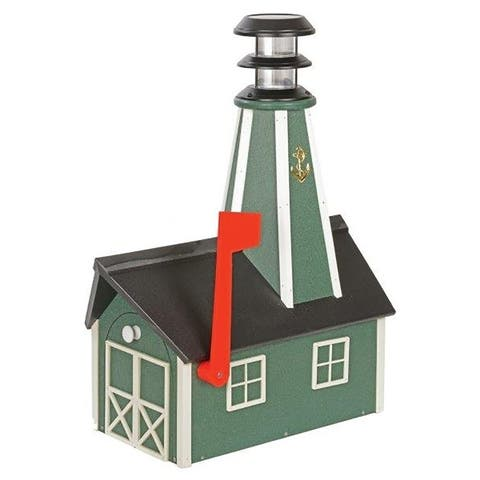 Poly Lumber Lighthouse Mailbox - Green And White