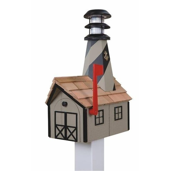 Wooden Light House Mailbox w/ Solar Powered Light - clay and black