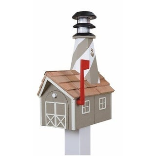 Wooden Light House Mailbox w/ Solar Powered Light - clay and white