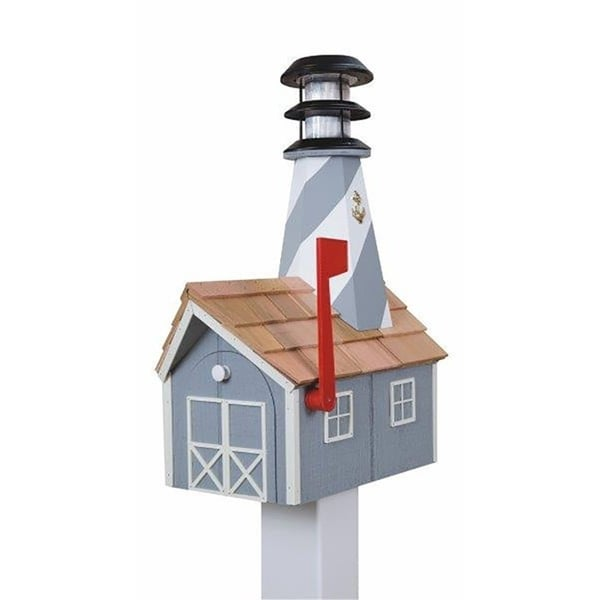 Wooden Light House Mailbox w/ Solar Powered Light - gray and white