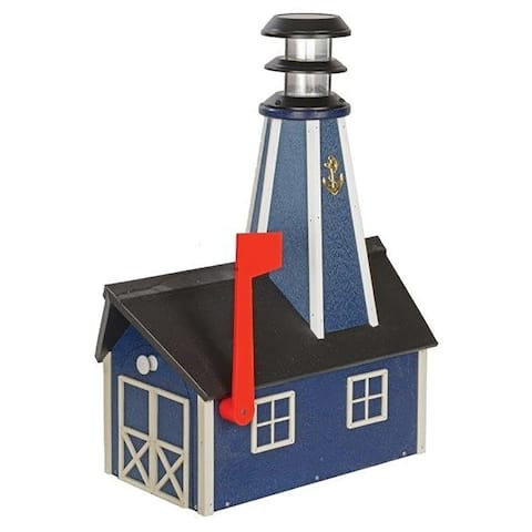Poly Lumber Lighthouse Mailbox - Blue and White