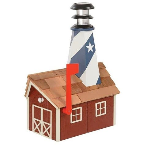 Wooden Light House Mailbox w/ Solar Powered Light - American