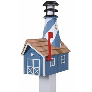Wooden Light House Mailbox w/ Solar Powered Light - Blue and White