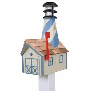 Wooden Light House Mailbox w/ Solar Powered Light - white and blue