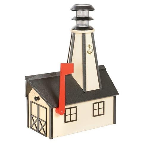 Poly Lumber Lighthouse Mailbox - beige and black