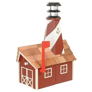 Wooden Light House Mailbox w/ Solar Powered Light - Red and white