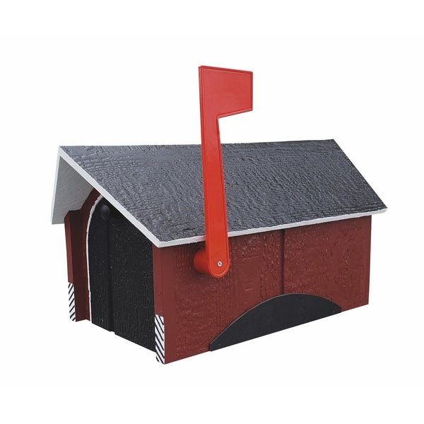 Covered Bridge Wooden Mailbox with Double Doors - Red