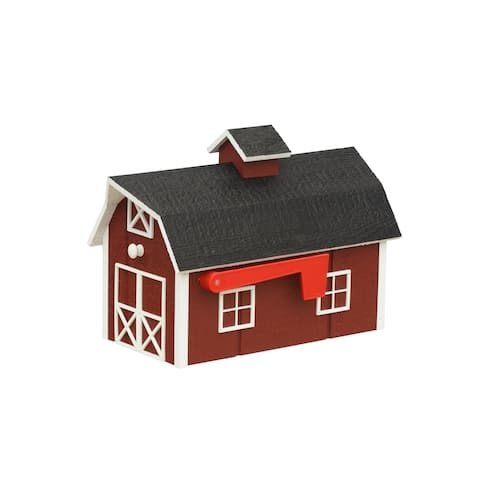 Barn Style Wooden Mailbox - Red