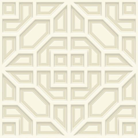 Asian Lattice Wallpaper, 20.5 in. x 33 ft. = 56 sq.ft, in Tan