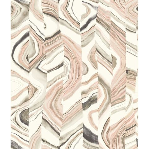 Agate Stripe Wallpaper, 20.5 in. x 33 ft. = 56 sq.ft, in Pinks