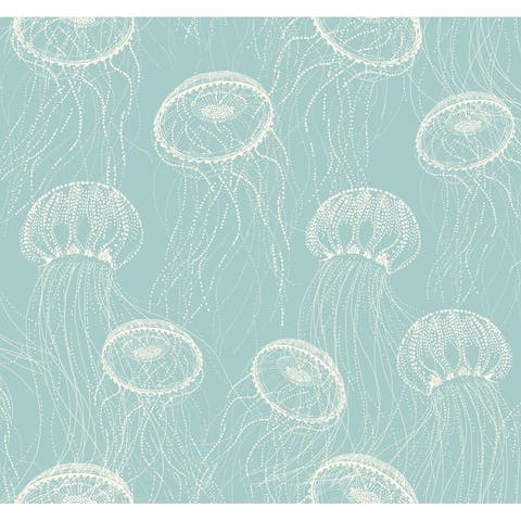 Atolla Wallpaper, 27 in. x 27 ft. = 60.75 sq.ft., in Blues