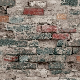 Brick Alley Wallpaper, 20.5 in. x 33 ft. = 56 sq ft, in Blue