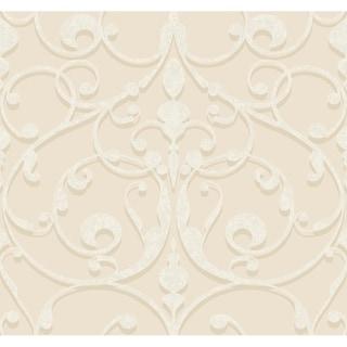 Contessa Wallpaper, 27 in. x 27 ft. = 60.75 sq.ft., in beige, tan, cream