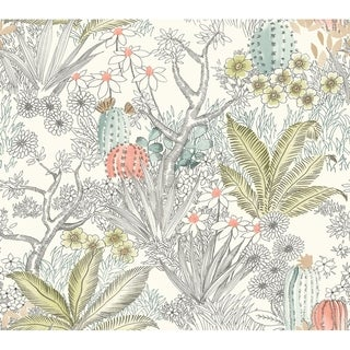 Flowering Desert Wallpaper, 27 in. x 27 ft. = 60.75 sq.ft, in Grey