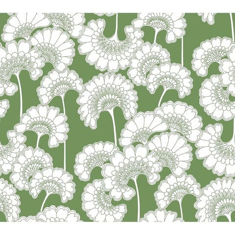 Japanese Floral Wallpaper, 27 in. x 27 ft. = 60.75 sq.ft, in Green