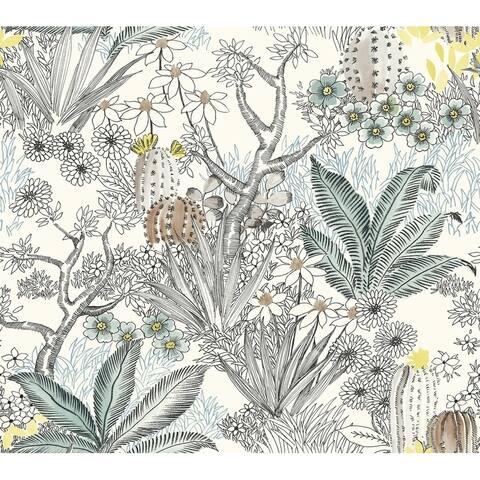 Flowering Desert Wallpaper, 27 in. x 27 ft. = 60.75 sq.ft, in Black