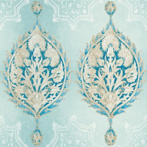 Henna Palm Ogee Wallpaper , 20.5 in. x 33 ft. = 56 sq.ft, in Blues - 20.5 in. x 33 ft. = 56 sq.ft