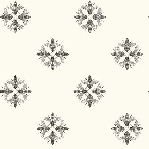 Honey Bee Wallpaper, 20.5 in. x 33 ft. = 56 sq.ft, in Black/White