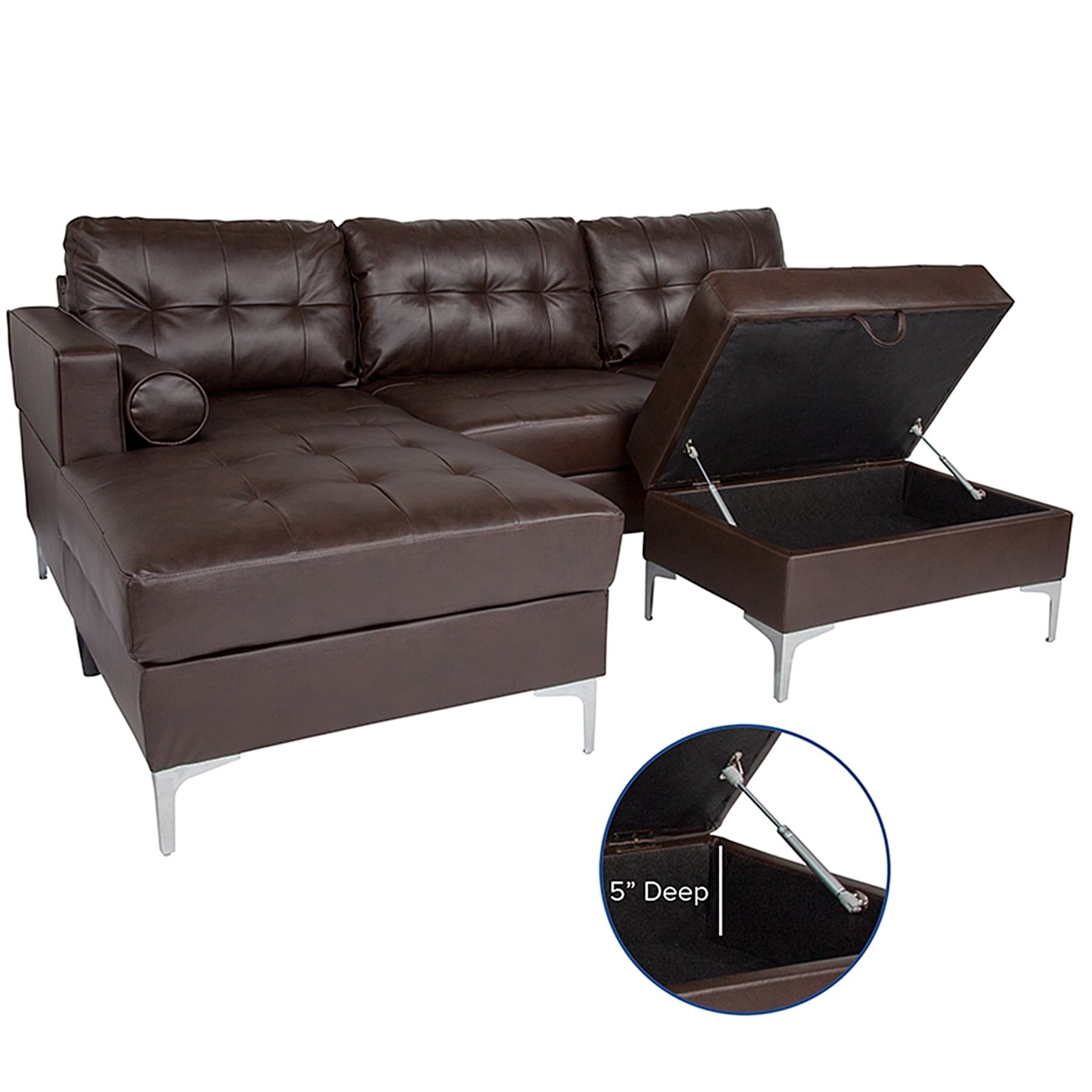 Bellmore 3-Piece Brown Leather Sectional Sofa with Left Facing Chaise and  Storage Ottoman